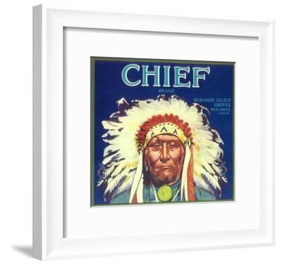 Chief Orange Label - Redlands, CA-Lantern Press-Framed Art Print