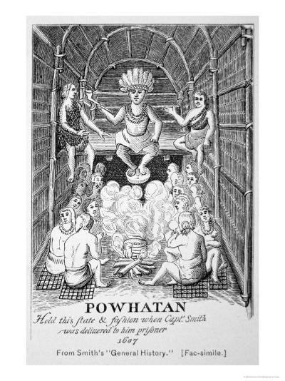 Chief Powhatan, Smith's General Historie of Virginia, New England and the Summer Isles, c.1624--Giclee Print