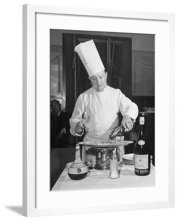 Chief Preparing Crepes Sezette--Framed Photographic Print