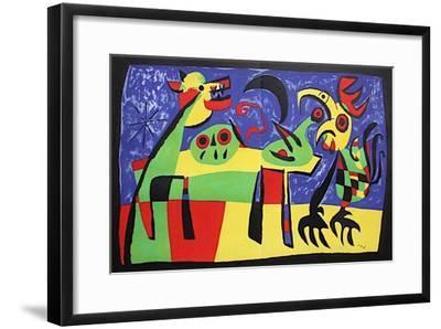 Chien Aboyant À La Lune-Joan Miro-Framed Premium Edition