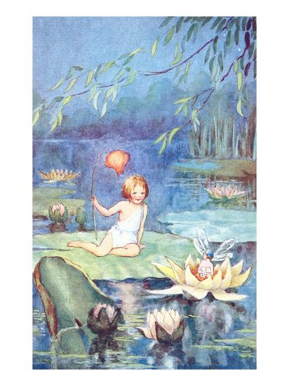 Child and Fairy on Lily Pond--Art Print