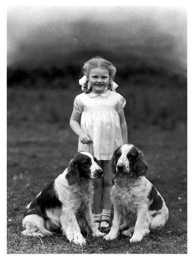 Child and Spaniel--Photographic Print