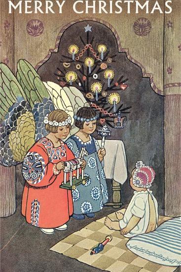 Child Angels Visiting Infant--Art Print