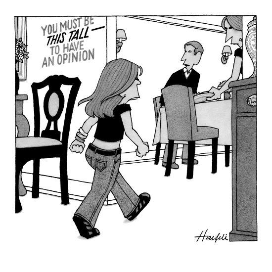 Child entering dining room with sign on wall that reads, 'You Must Be This? - New Yorker Cartoon-William Haefeli-Premium Giclee Print