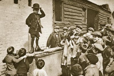 Child Imitating Charlie Chaplin--Photographic Print