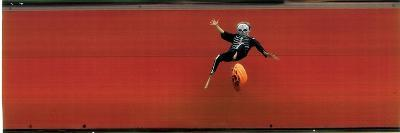Child in Halloween Skeleton Costume Jumping in Air-George Silk-Photographic Print