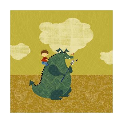 Child on Fire Breathing Dragon--Art Print