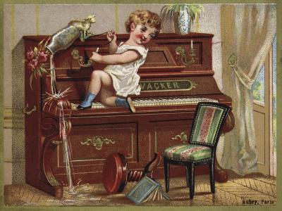 Child Playing on a Piano--Giclee Print