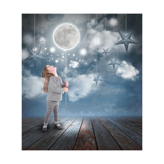 Child Playing With Moon And Stars At Night-Angela_Waye-Art Print