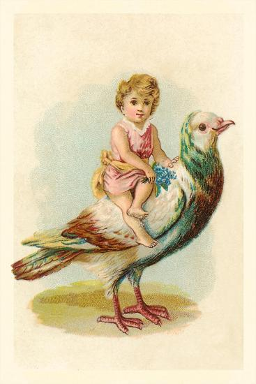 Child Riding Large Bird--Art Print