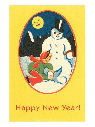 Child, Snowman, Smiling Moon--Art Print
