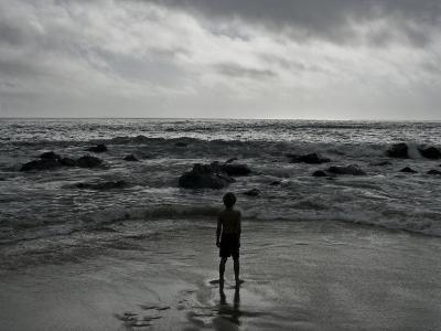 Child Standing at the Edge of Tide-Krzysztof Rost-Photographic Print
