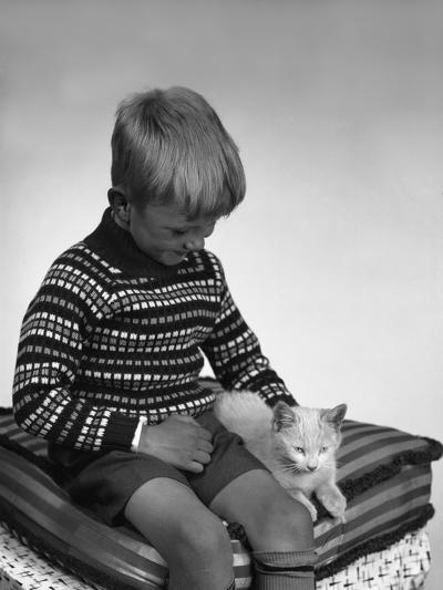 Child with a Cat, 1963-Michael Walters-Photographic Print