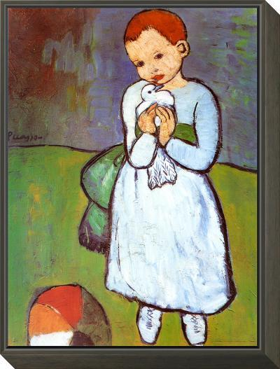 Child with a Dove, c.1901-Pablo Picasso-Framed Print Mount