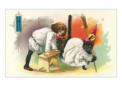 Child with Black Cat in Costume--Art Print