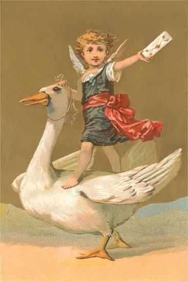 Child with Letter on Goose--Art Print