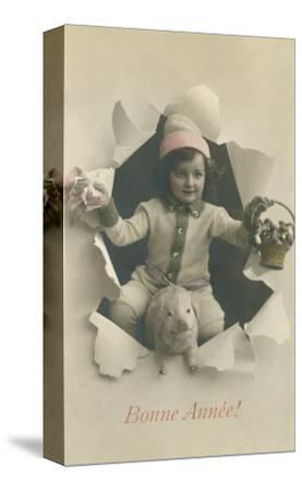 Child with Pig Bursting Through Paper