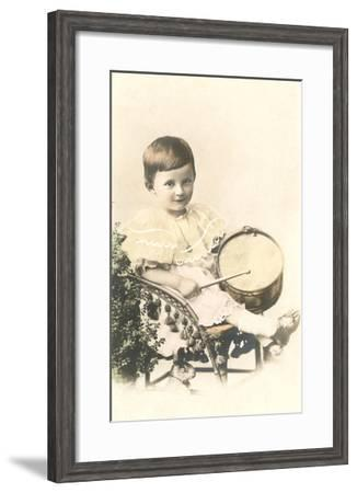 Child with Toy Drum--Framed Art Print