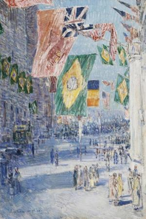 Avenue of the Allies: Brazil, Belgium, 1918 by Childe Hassam