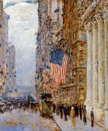 Flags on the Waldorf by Childe Hassam