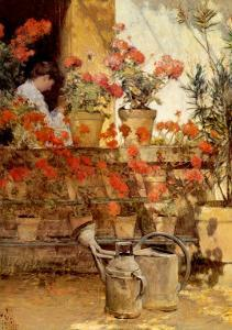 Geraniums by Childe Hassam