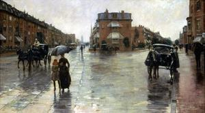 Hassam: Rainy Boston, 1885 by Childe Hassam