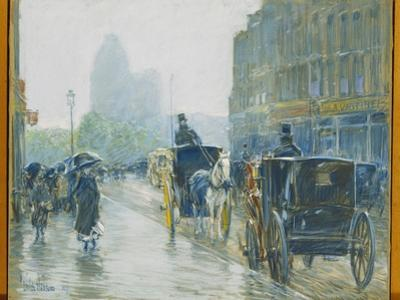 Horse Drawn Cabs, New York, 1891 by Childe Hassam