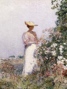 Lady in Flower Garden by Childe Hassam