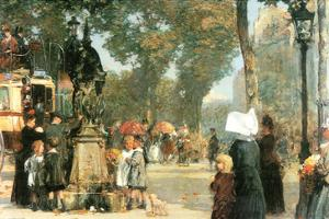 Parisian Street Scene [1] by Childe Hassam