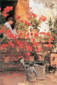 Red Geraniums by Childe Hassam