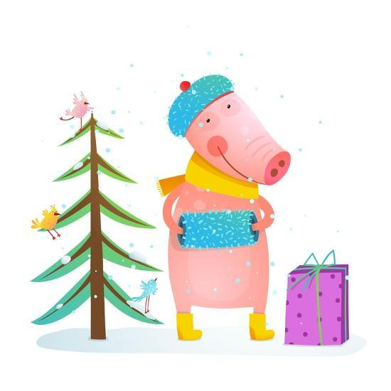 Childish Cheerful Little Pig in Winter Warm Clothes with Fur Tree and Birds. Colorful Cartoon for K-Popmarleo-Art Print
