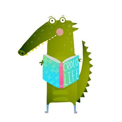 Childish Student Crocodile Reading Book and Study. Happy Fun Watercolor Style Animal Education for-Popmarleo-Art Print