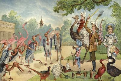 Children Addressing the Birds in the Zoo-Richard Andre-Giclee Print