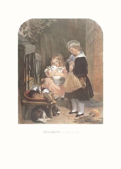 Children and Rabbits-Edwin Henry Landseer-Art Print