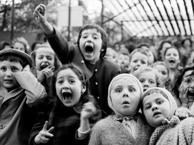 Children at a Puppet Theatre, Paris, 1963-Alfred Eisenstaedt-Premium Photographic Print