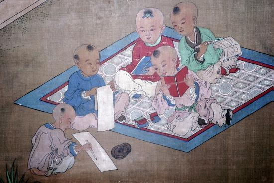 Children at play, Japanese painting, 18th century. Artist: Unknown-Unknown-Giclee Print