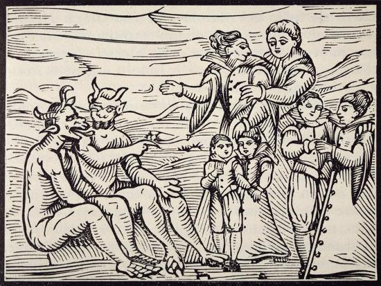 Children Being Initiated into Satanic Rituals, Engraving from Compendium Maleficarum--Giclee Print