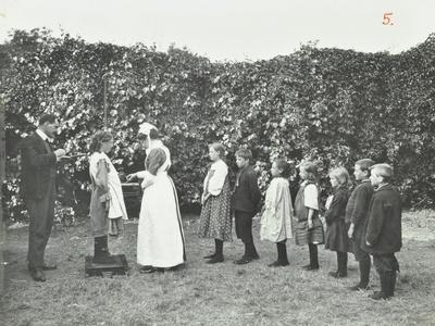 Children Being Weighed in the Garden, Montpelier House Open Air School, London, 1908--Photographic Print