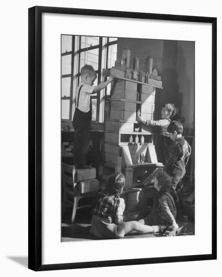 Children Building an Apartment House with Blocks-Nina Leen-Framed Photographic Print