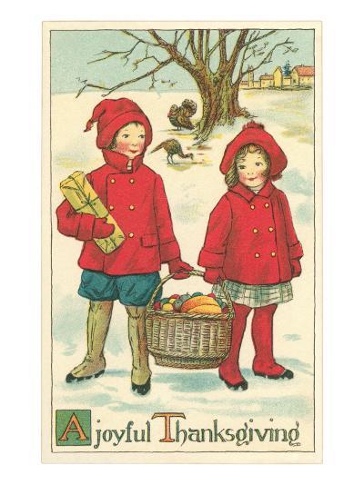 Children Carrying Basket of Food--Art Print
