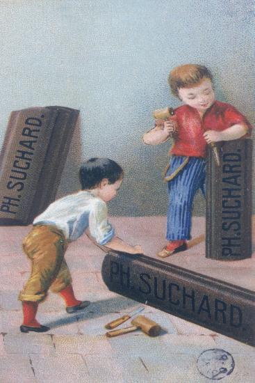 Children Carving the Letters 'Suchard' on Chocolate Bars--Giclee Print