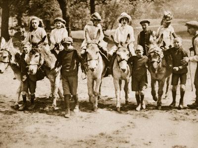 Children Donkey Riding on Hampstead Heath--Photographic Print