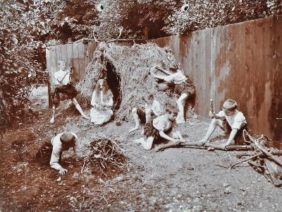 Children Dressed as Prehistoric Cave Dwellers, Birley House Open Air School, London, 1908--Photographic Print
