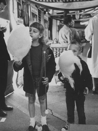 Children Eating Cotton Candy Given by a League of Women Voters-Ralph Crane-Photographic Print