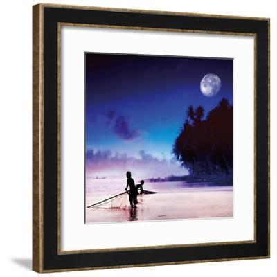 Children Fishing-Jurek Nems-Framed Premium Giclee Print