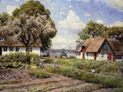Children in a Farmyard-Peder Mork Monsted-Giclee Print