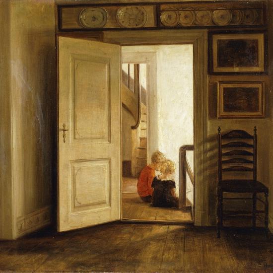 Children in an Interior-Carl Holsoe-Giclee Print
