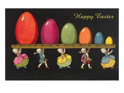 Children in Colonial Costumes Carrying Tray of Easter Eggs--Art Print