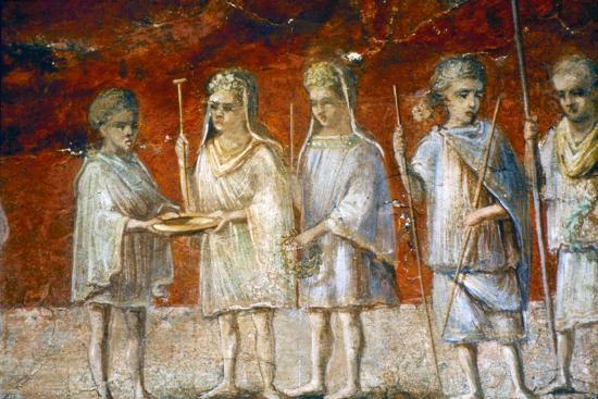 Children in religious procession, Roman wall painting from Ostia, c2nd-3rd century-Unknown-Giclee Print