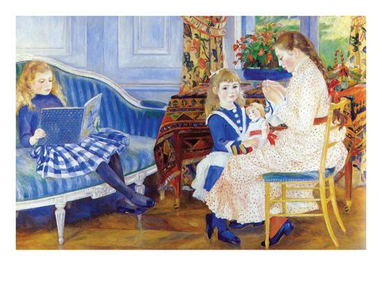 Children in the Afternoon in Wargemont-Pierre-Auguste Renoir-Art Print